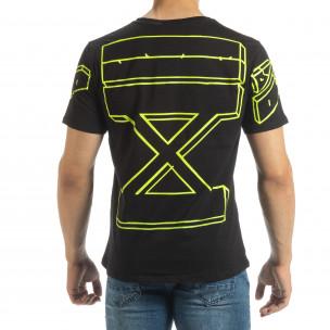 Черна мъжка тениска неонов принт на гърба 2