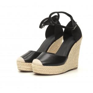 Черни дамски сандали с връзки висока платформа 2