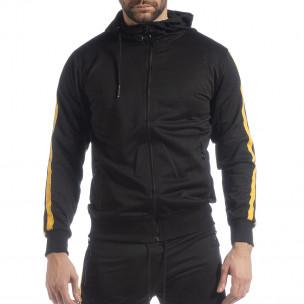 Черен мъжки Biker суичър жълт кант  2