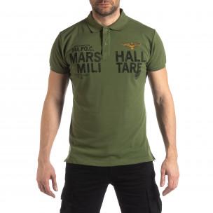 Зелена тениска с яка Marshall Militare