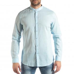 Мъжка риза от лен и памук в светло синьо