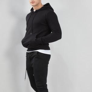 Basic мъжки суичър тип анорак в черно