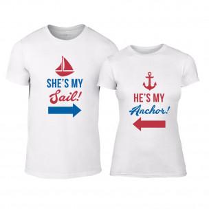 Тениски за двойки Sail Anchor бели
