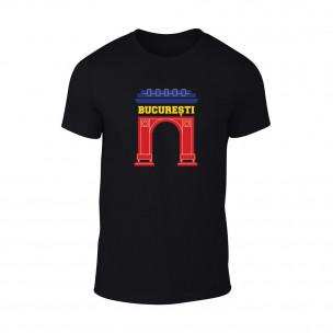 Мъжка черна тениска Bucuresti