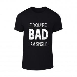 Мъжка черна тениска Bad