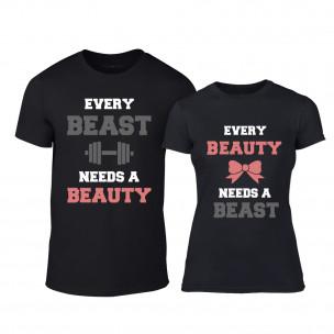 Тениски за двойки Beauty & Beast черни TEEMAN