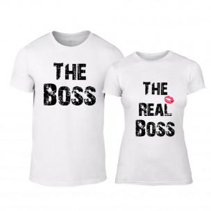 Тениски за двойки The Boss The Real Boss бели TEEMAN