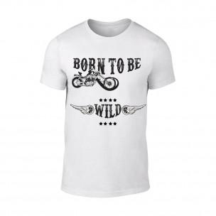 Мъжка бяла тениска Born To Be Wild