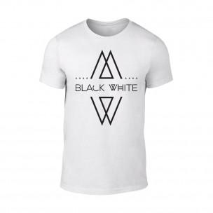 Мъжка бяла тениска Black White