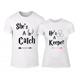 Тениски за двойки Catch/Keeper бели TEEMAN