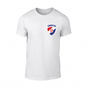 Мъжка бяла тениска с лого Croatia
