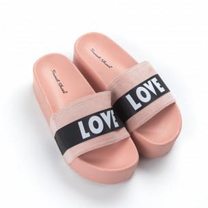 Дамски розови чехли Love на платформа. Размер 38/37