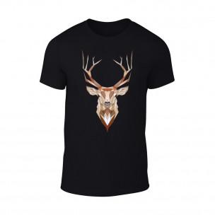 Мъжка черна тениска Deer