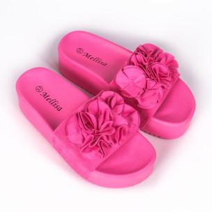 Дамски чехли на платформа розов неон  2