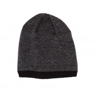 Мъжка сиво-черна шапка двойна плетка 2