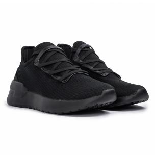All black мъжки маратонки тип чорап Lace detail  2