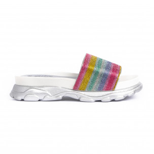 Дамски джапанки Rainbow Chunky сребристо