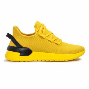 Жълти мъжки маратонки тип чорап Lace detail