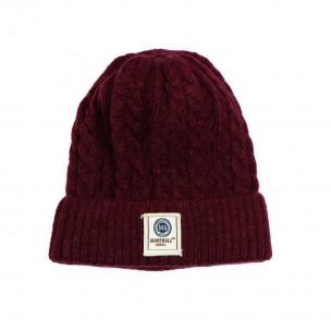 Мъжка шапка бордо с плетеници