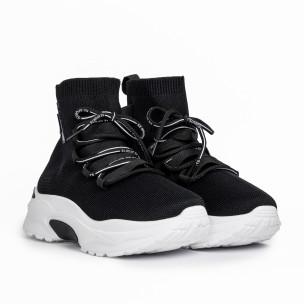 Дамски маратонки чорап в черно 2
