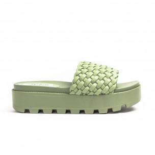Дамски зелени чехли на платформа с грайфер 2