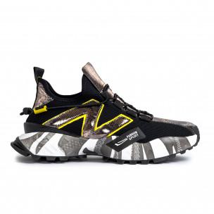 Slip-on black & metallic мъжки маратонки   2