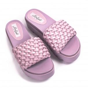 Дамски лилави чехли на платформа с грайфер