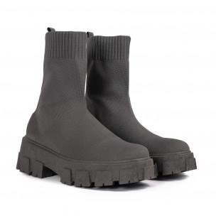 Slip-on дамски сиви боти тип чорап 2