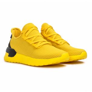 Жълти мъжки маратонки тип чорап Lace detail 2