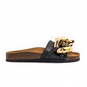 Дамски черни чехли с детайл
