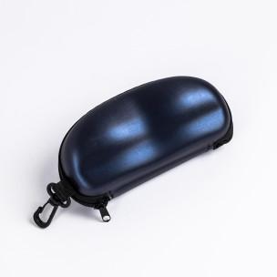 Калъф за очила син металик