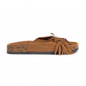 Дамски чехли с ресни цвят камел