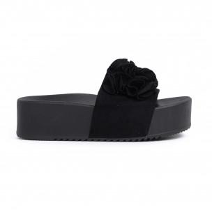 Дамски чехли на платформа в черно