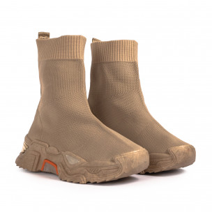 Chunky бежови високи маратонки тип чорап Fashion&Bella 2