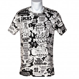 Мъжка черно-бяла тениска с комикси Made in Italy