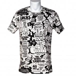 Мъжка черно-бяла тениска с комикси