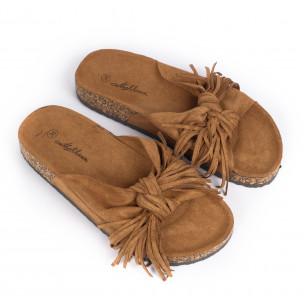 Дамски чехли с ресни цвят камел  2
