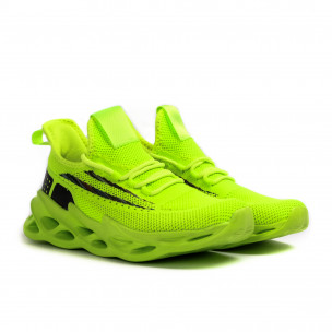 Дамски неоново зелени маратонки Chevron 2