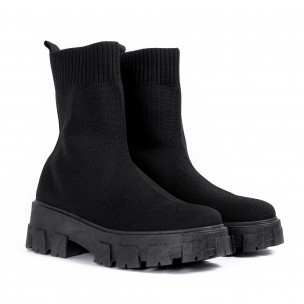 Slip-on дамски черни боти тип чорап 2
