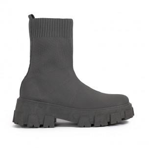 Slip-on дамски сиви боти тип чорап