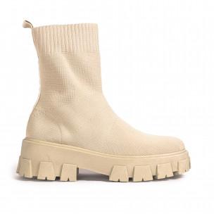 Slip-on дамски бежови боти тип чорап