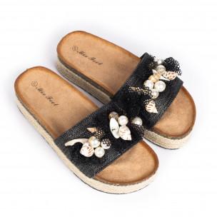 Черни дамски чехли морска декорация 2
