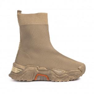 Chunky бежови високи маратонки тип чорап Fashion&Bella
