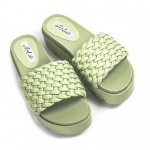 Дамски зелени чехли на платформа с грайфер