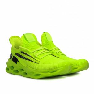 Мъжки неоново зелени маратонки Chevron  2