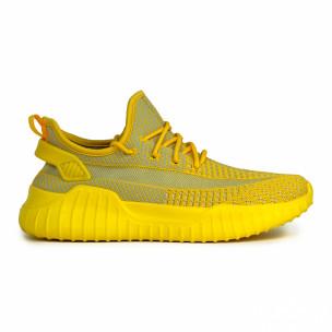 Мъжки еластични маратонки в жълто. Размер 44/45
