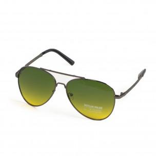 Пилотски очила опушени в жълто-зелено  2