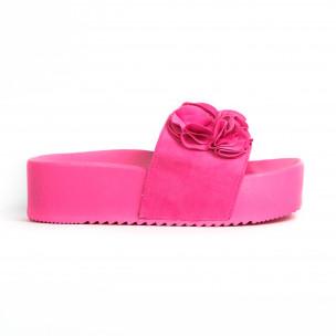 Дамски чехли на платформа розов неон