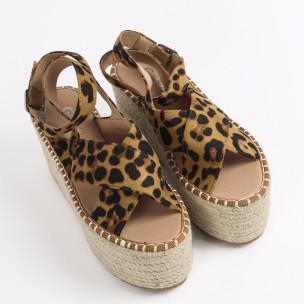 Дамски сандали на платформа леопард  2