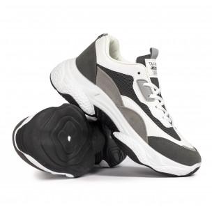 Chunky мъжки маратонки в сиво и бяло  2